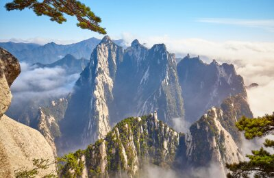 Huashan National Park mountain landscape at sunset, China.