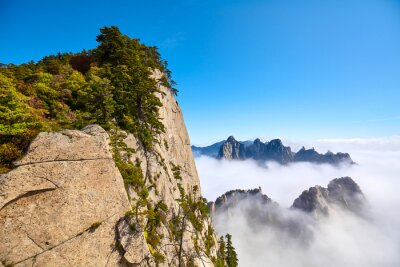 Huashan National Park mountain landscape in clouds, China.