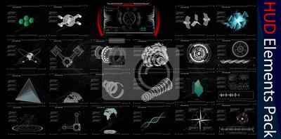 HUD Elements Mega Pack. Elementy. Futurystyczny interfejs użytkownika Sci Fi. Przycisk MENU. Wektor Illustration.3d