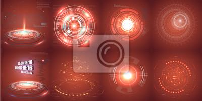 Hud futurystyczny element. Zestaw Circle Abstract Digital Technology UI Futurystyczny interfejs wirtualnego interfejsu HUD Elementy Science fiction nowoczesny użytkownik dla ruchu graficznego