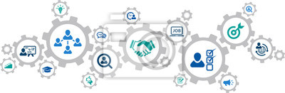 Obraz human resources icons concept – recruitment, teamwork, career: vector illustration