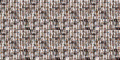 Obraz Hundreds of multiracial people crowd portraits headshots collection, collage mosaic. Many lot of multicultural different male and female smiling faces looking at camera. Diversity and society concept.