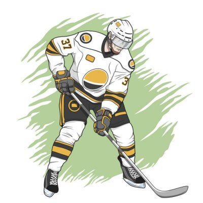 Obraz ice hockey player white