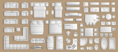 Obraz Icons set of interior. Furniture top view. Elements for the floor plan. (view from above). Furniture and elements for living room, bedroom, kitchen, bathroom, office.