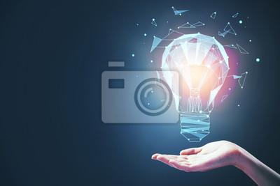 Obraz idea concept with bulb in hand