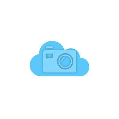 Obraz Ikona chmurki wektorowe, solidne logo ilustracji, kolorowe piktogram samodzielnie na białym tle