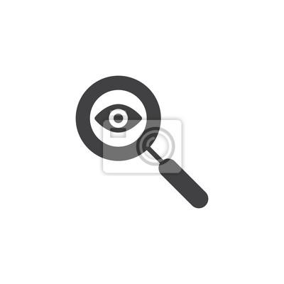 Ikona lupy i oczu wektor. wypełnione mieszkanie znak dla koncepcji mobilnych i projektowanie stron internetowych. Szukaj w oka proste, solidne ikony. Symbol, ilustracja logo. Doskonała grafika wektoro
