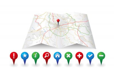 Ikona mapy wektor z ikoną gps