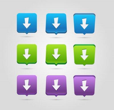 Ikona pobierania. Przycisk przesyłania. Załaduj symbol. Przyciski zaokrąglone kwadraty.