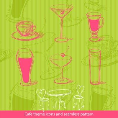 Obraz Ikony Cafe i bez szwu