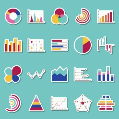 Ikony naklejek wykresów danych biznesowych. Naklejki wykresów finansowych i marketingowych. Elementy rynku kropka wykresy słupkowe wykresy kołowe i wykresy. Schemat wykresu przepływu biznesu infograph