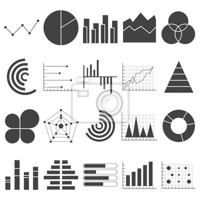 Ikony wykresów danych biznesowych. Wykresy finansowe i marketingowe. Elementy rynku kropka wykresy słupkowe wykresy kołowe i wykresy. Schemat wykresu przepływu biznesu infographic. Płaskie ikony ustaw