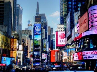 Obraz Illuminated Advertisements On Modern Buildings In City