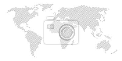 Obraz Illustration and pictogram of gray hatched map of the world.