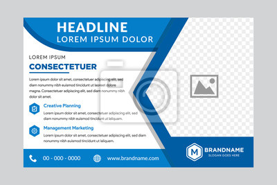 Obraz Illustration for your business presentations. Brochure or flyer. horizontal layout. flat blue color. right side for place of photo.