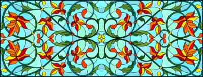 Obraz Illustration in stained glass style with abstract  swirls and maple  leaves  on a sky  background,horizontal orientation