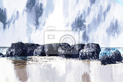 Illustration of beach, digital painting