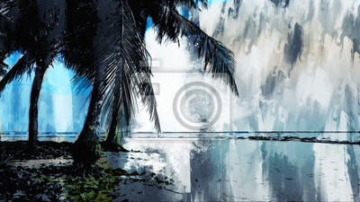 Illustration of beach with coconut palm tree, digital painting