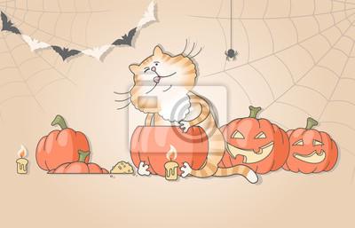 Obraz Illustration of funny cat carving pumpkins for halloween