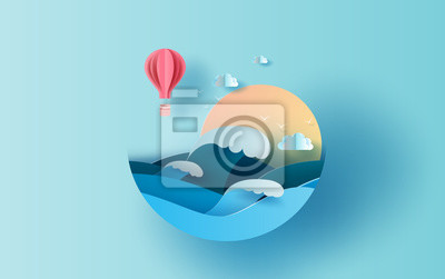 Obraz Illustration of travel in holiday summer season circle concept. Graphic design balloon paper cut style. Vacation summertime idea pastel color background,Sea wave view landscape sunlight. Vector EPS10