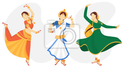 Obraz Illustration of young beautiful Indian Classical Dancer in different dancing pose.