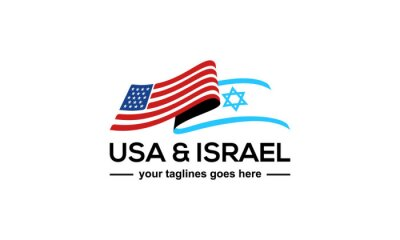 Obraz illustration vector graphic of modern, simple, abstract mark for usa and israel flag logo design