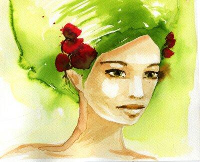 Obraz Ilustracja abstrakcyjna akwarela przedstawiająca portret kobiety