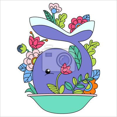 Obraz Ilustracja cartoon wieloryba
