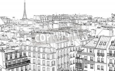 Obraz Ilustracja dachów w Paryżu w nocy