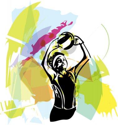Obraz Ilustracja do siatkówki gracza gry