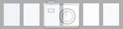 Obraz Ilustracja kreatywnych wektor realistyczny kwadrat, wyłożone arkusze papieru puste zestaw na białym tle na przezroczystym tle. Art design lines, notatnik strony siatki z marginesem. Element graficzny