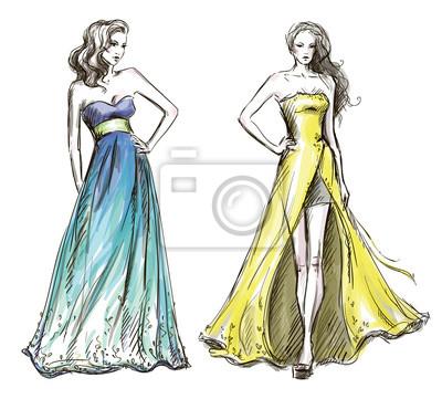 Obraz ilustracja mody d uga suknia catwalk na wymiar for Nyu tisch fashion design