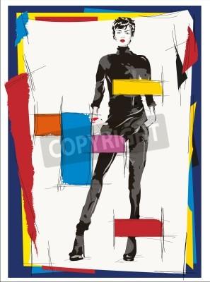 Obraz Ilustracja mody dziewczyna kubizm nowoczesny