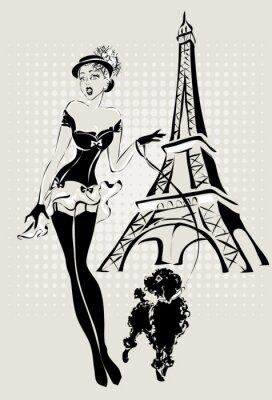 Obraz Ilustracja mody kobieta w pobliżu wieży Eiffla z małym psem