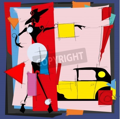 Obraz Ilustracja mody w stylu kubizmu