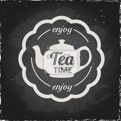 Ilustracja na tablicy na temat herbaty z prostego symbolu.