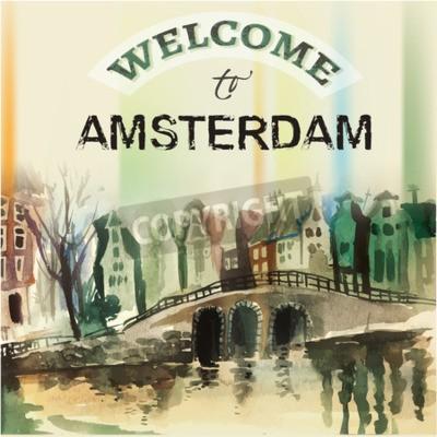 Obraz Ilustracja piękne miasta Amsterdam rysowane ręcznie grafika. Obrazu wektorowego.
