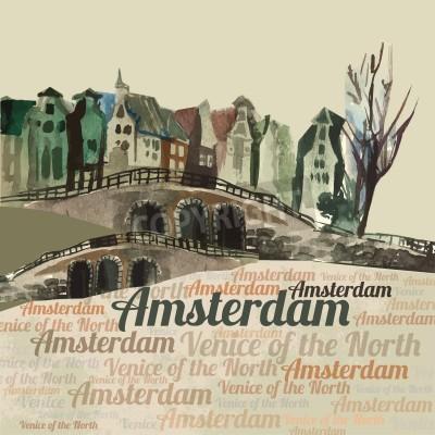 Obraz Ilustracja piękne miasto Amsterdam wyciągnąć ręcznie grafiki. Obrazu wektorowego.