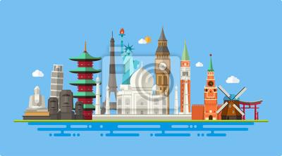 Obraz Ilustracja płaska pocztówka z światowej sławy punkt orientacyjny