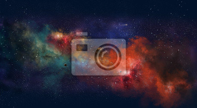 Obraz Ilustracja przestrzeni z kolorowym blaskiem