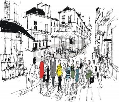 Obraz ilustracja sceny kawiarni Montmartre, Paryż Francja