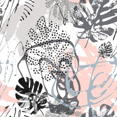 Ilustracja sztuki współczesnej z tropikalnymi liśćmi, grunge, marmurkowe tekstury, gryzmoły, elementy geometryczne, minimalne.