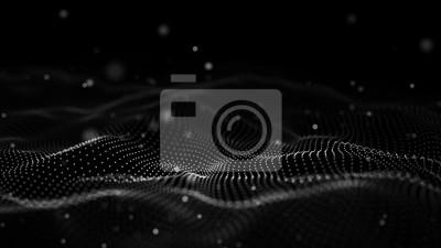 Obraz Ilustracja technologii danych. Streszczenie futurystycznym tle. Fala z łączącymi kropki i linie na ciemnym tle. Fala cząstek.