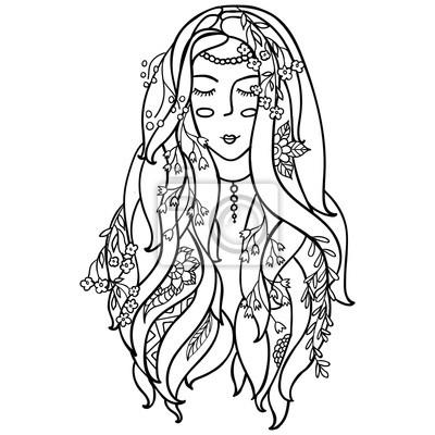 Obraz Ilustracja Wektora Czarno Bialej Kobiety Z Kwiatami