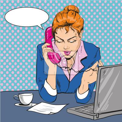 Ilustracja wektora kobieta rozmawia przez telefon, pop-artu