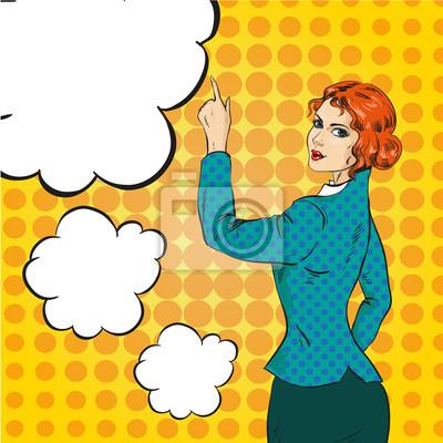 Ilustracja wektora kobieta, wskazując na coś w stylu pop-art
