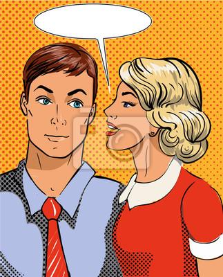 Ilustracja wektora w stylu pop-art. Kobieta mówi tajemnicę człowieka. Retro komiks. Plotki i pogłoski rozmowy