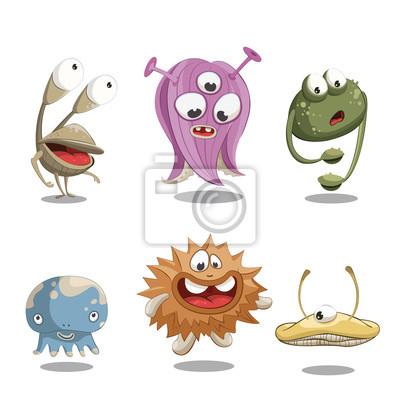 Ilustracja wektora z zabawnych potworów.