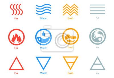 Obraz Ilustracja wektorowa czterech elementów ikony, linii, trójkąt i cały zestaw symboli. Szablon logo. Wiatr, ogień, woda, symbol ziemi. Piktogram.