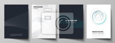 Obraz Ilustracja wektorowa edytowalnego układu makiet formatu A4 projektuje szablony z geometrycznym tłem z kropek, kółka do broszury, czasopisma, ulotki, broszury, raportu rocznego.